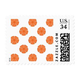 Flower Pattern 2 Celosia Orange Stamps