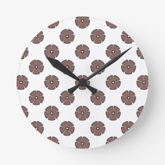 Flower Pattern 2 Cognac Round Wall Clocks