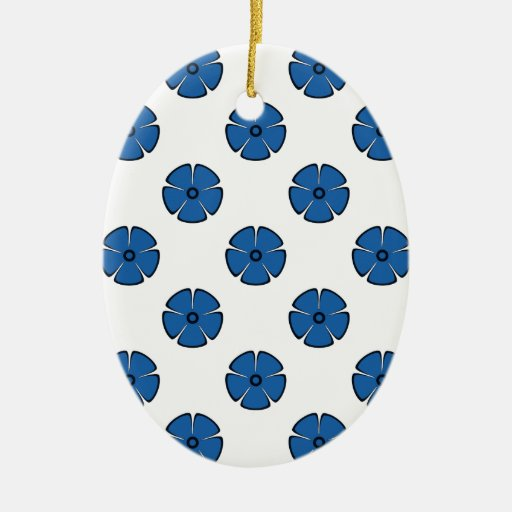 Flower Pattern 2 Dazzling Blue Christmas Ornament