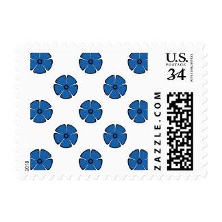 Flower Pattern 2 Dazzling Blue Postage Stamps