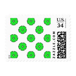 Flower Pattern 2 Green Postage Stamp