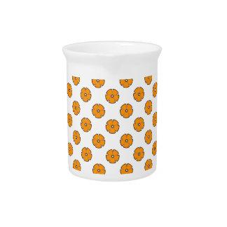 Flower Pattern 2 Orange Beverage Pitcher