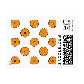 Flower Pattern 2 Orange Postage Stamp