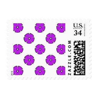 Flower Pattern 2 Purple Stamps