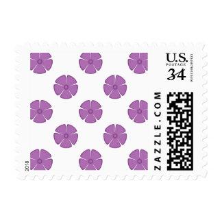 Flower Pattern 2 Radiant Orchid Postage Stamp