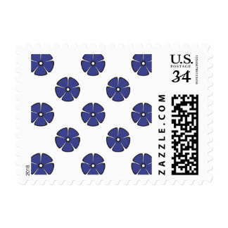 Flower Pattern 2 Royal Blue Postage Stamp
