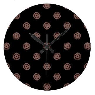 Flower Pattern 4 Cognac Wallclock