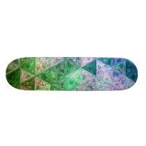 Flower Pattern Blue and Green Skateboard Deck