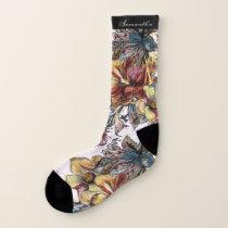 Flower Pattern custom name socks