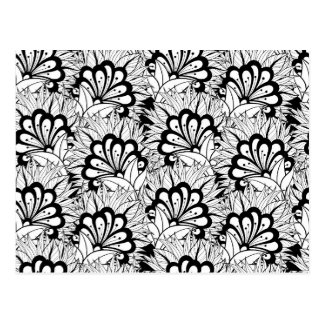 Flower Pattern Doodle Postcard
