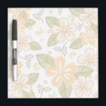 "Flower Pattern Dry-Erase Board<br><div class=""desc"">Dry Erase Board has a pretty flower design in shades of light orange,  olive green,  grey,  and eggshell.</div>"