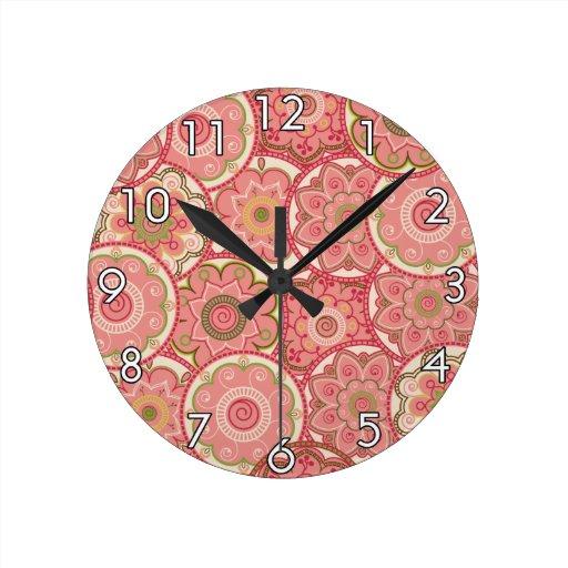 Flower Pattern Four Round Clock