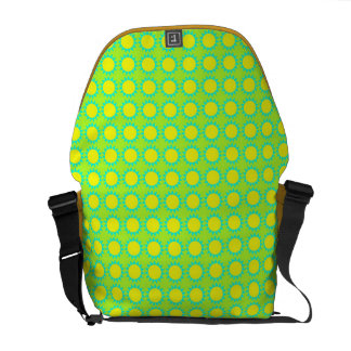 Flower pattern green yellow and blue courier bags