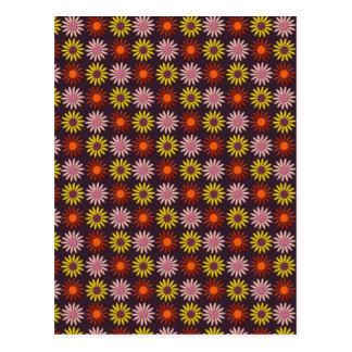 Flower Pattern in Maroon Tones and Background Postcard