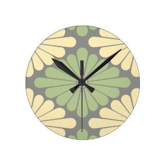 Flower Pattern in Moss Green, Lemon Cream & Gray Round Clock