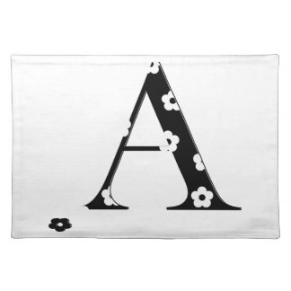 Flower Pattern Letter A Cloth Placemat