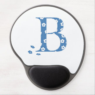 Flower Pattern Letter B(blue) Gel Mouse Pad
