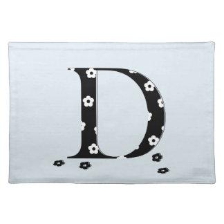 Flower Pattern Letter D Cloth Placemat
