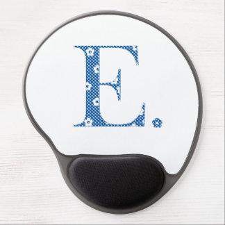 Flower Pattern Letter E(blue) Gel Mouse Pad
