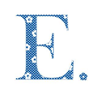 flower pattern letter eblue small christmas stocking