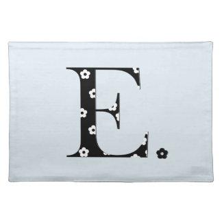 Flower Pattern Letter E Cloth Placemat