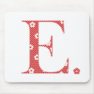 Flower Pattern Letter E(red) Mouse Pad
