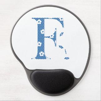 Flower Pattern Letter F(blue) Gel Mouse Pad