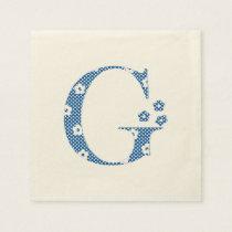 Flower Pattern Letter G(blue) Paper Napkin