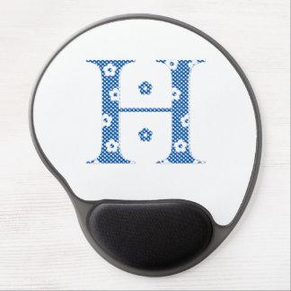 Flower Pattern Letter H (blue) Gel Mouse Pad
