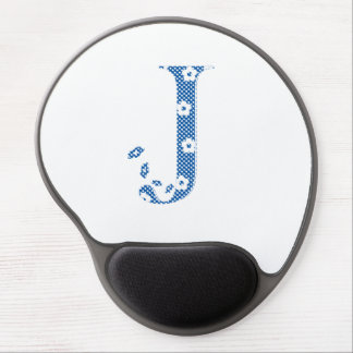 Flower Pattern Letter J (blue) Gel Mouse Pad