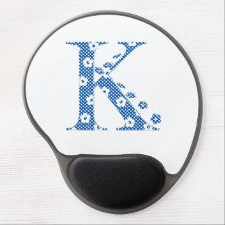 Flower Pattern Letter K(blue) Gel Mouse Pad