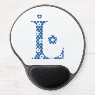 Flower Pattern Letter L(blue) Gel Mouse Pad