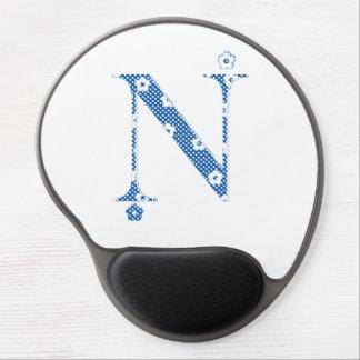 Flower Pattern Letter N(blue) Gel Mouse Pad
