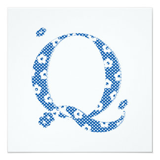 Flower Pattern Letter Q(blue) Card