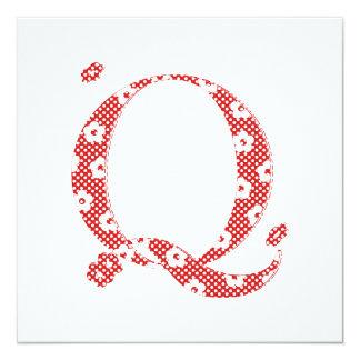 Flower Pattern Letter Q(red) Card
