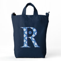 Flower Pattern Letter R(blue) Duck Bag