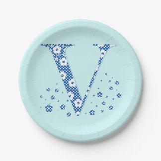 Flower Pattern Letter V(blue) Paper Plate