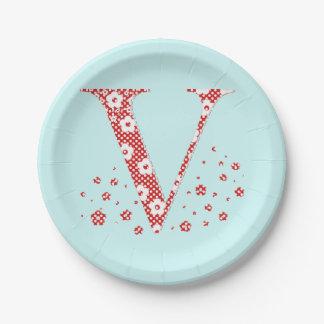Flower Pattern Letter V(red) Paper Plate