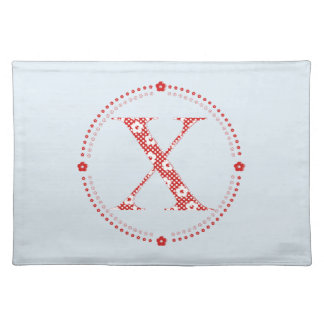 Flower Pattern Letter X(red) Cloth Placemat