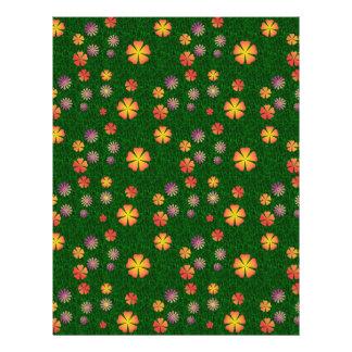 Flower pattern on green grass flyer
