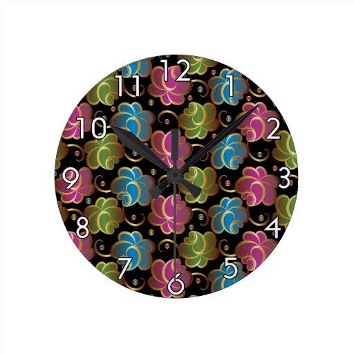 Flower Pattern one Round Clock