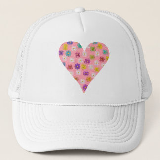 Flower Pattern Pink Heart Trucker Hat