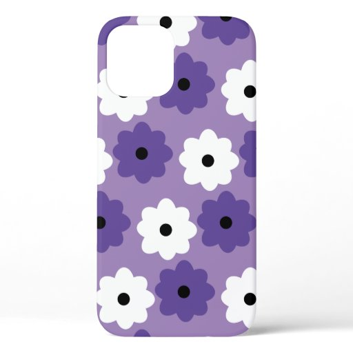 Flower Pattern Purple and White iPhone 12 Case