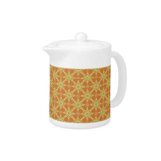 Flower Pattern, Rust, Green, Cream China Teapot
