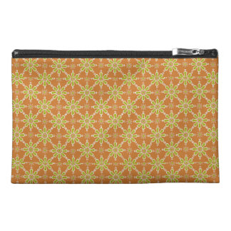 Flower Pattern, Rusty Red, Green, Toiletries Bag Travel Accessory Bags