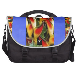 Flower Pattern Strips from  Blue Oil painted wall Laptop Commuter Bag