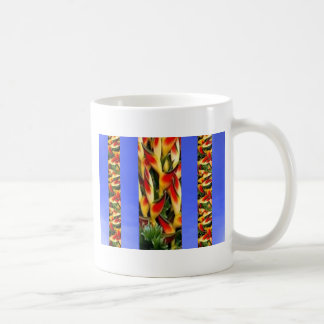 Flower Pattern Strips from  Blue Oil painted wall Mugs