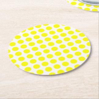 Flower Pattern Summer Flowers Yellow Sunshine Round Paper Coaster