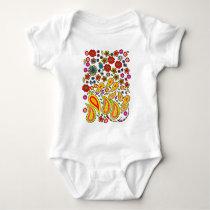 Flower pattern vest baby bodysuit