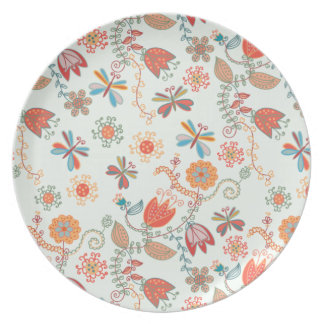 Flower pattern with tulips and dragonflies dinner plates